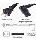 NEMA 1-15 Male to C7 Right/Left Angle Female 4.6 Meters 10 Amp 125 Volt 18/2 SPT-2 Black Power Cord