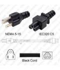 NEMA 5-15 Male to C5 Female 1.8 Meters 10 Amp 125 Volt 18/3 SPT-2 Black Power Cord