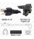 NEMA 5-15 Male to C5 Left Female 1.8 Meters 10 Amp 125 Volt 18/3 SJT Black Power Cord