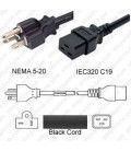 NEMA 5-20 Male to C19 Female 2.4 Meters 20 Amp 125 Volt 12/3 SJT Black Power Cord