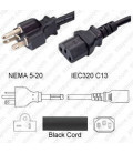 NEMA 5-20 Male to C13 Female 2.5 Meters 15 Amp 125 Volt 14/3 SJT Black Power Cord