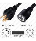 Extension Power Cord Twist Lock L15-30 Plug to Twist Lock L15-30 Connector 15 Feet ~4.5 Meter 30a/250v 8/4 SOOW