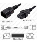 C14 Male to C21 Female 3.0 Meters 15 Amp 250 Volt 14/3 AWG SJT Black Power Cord