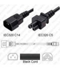 C14 Male to C5 Female 1.0 Meters 2.5 Amp 250 Volt H05VV-F 3x1.0 Black Power Cord - CLEARANCE