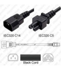 C14 Male to C5 Female 1.0 Meter 2.5 Amp 250 Volt 18/3 SJT Black Power Cord