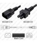 C14 Male to C5 1.0m 2.5a/250v H05VV-F3G1.0 & 18/3 SJT Power Cord - Black - CLEARANCE