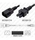 C14 Male to C5 2.5m 2.5a/250v H05VV-F3G1.0 & 18/3 SJT Power Cord - Black - CLEARANCE