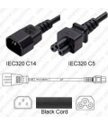 C14 Male to C5 3.0m 2.5a/250v H05VV-F3G1.0 & 18/3 SJT Power Cord - Black - CLEARANCE