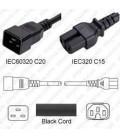 C20 Male to C15 Female 1.2 Meter 15 Amp 250 Volt 14/3 SJT Black Power Cord