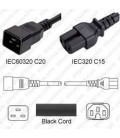 C20 Male to C15 Female 1.5 Meters 10 Amp 250 Volt H05V2V2-F 3x1.0 Black Power Cord