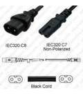 C Cord C8 Male to C7 Female 0.8 Meters ~ 2.6 Feet 2.5 Amp 250 Volt H03VVH2-F2G.75 Black Power Cord