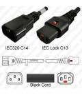 IEC-Lock C14 Male to C13 Female Locking 0.6 Meter 10 Amp 250 Volt 18 AWG / 3 Wire SJT Black Power Cord