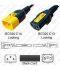 V-Lock C14 Male to V-Lock C13 Female 0.6 Meter 10 Amp 250 Volt H05VV-F 3x0.75 / SVT 18/3 Black Power Cord