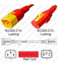 V-Lock C14 Male to V-Lock C13 Female 0.9 Meter 10 Amp 250 Volt H05VV-F 3x0.75 / SVT 18/3 Red Power Cord