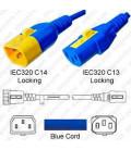 V-Lock C14 Male to V-Lock C13 Female 0.9 Meter 10 Amp 250 Volt H05VV-F 3x0.75 / SVT 18/3 Blue Power Cord