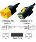 V-Lock C20 Male to V-Lock C19 Female 1.2 Meter 16 Amp 250 Volt Hybrid Black Power Cord