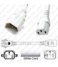 P-Lock C14 Male to C13 Female 0.5 Meter 10 Amp 250 Volt H05VV-F 3x1.0 White Power Cord