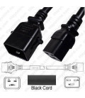 P-Lock C20 Male to C19 Female 1.2 Meter 16 Amp 250 Volt H05VV-F 3x1.5 Black Power Cord