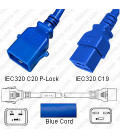 P-Lock C20 Male to C19 Female 1.8 Meter 16 Amp 250 Volt H05VV-F 3x1.5 Blue Power Cord