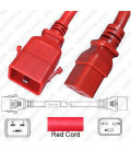 P-Lock C20 Male to C19 Female 0.5 Meter 16 Amp 250 Volt H05VV-F 3x1.5 Red Power Cord