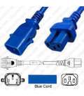 P-Lock C14 Male to C15 Female 2.0 Meter / 6.5 feet 10 Amp 250 Volt H05RR-F 3x1.0 Blue Power Cord