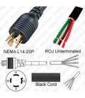 Locking NEMA L14-20 Male to ROJ Unterminated Female 3.2 Meters 20 Amp 250 Volt 12/4 SOOW Black Power Cord
