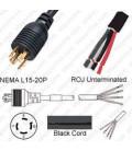 Locking NEMA L15-20 Male to ROJ Unterminated Female 3.2 Meters 20 Amp 250 Volt 12/4 SOOW Black Power Cord