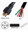 Locking NEMA L22-20 Male to ROJ Unterminated Female 3.2 Meters 20 Amp 480 Volt 12/5 STO Black Power Cord