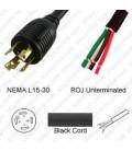 Locking NEMA L15-30 Male to ROJ Unterminated Female 3.2 Meters 30 Amp 250 Volt 8/4 SOOW Black Power Cord