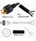 Locking NEMA L5-30 Male to ROJ Unterminated Female 3.2 Meters 30 Amp 125 Volt 10/3 SJT Black Power Cord