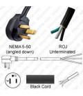 NEMA 5-50 Down Male to ROJ Unterminated Female 3.2 Meters 50 Amp 125 Volt 6/3 SOOW Black Power Cord
