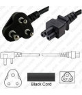 South Africa SANS 164-3 Down Male to C5 Female 1.8 Meters 2.5 Amp 250 Volt H05VV-F 3x0.75 Black Power Cord
