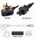 South Africa SANS 164-1 Down Male to C5 Female 1.8 Meters 2.5 Amp 250 Volt H05VV-F 3x1.0 Black Power Cord