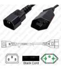 IEC 60320 C14 Male to Switzerland SEV 1011 Female 0.5 Meters 10 Amp 250 Volt H05VV-F 3x1.0 Black Power Cord