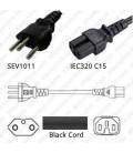 Switzerland SEV 1011 Male to C15 Female 2.5 Meters 10 Amp 250 Volt H05VV-F 3x1.0 Black Power Cord