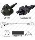 U.K. BS 1363 Down Male to C5 Female 1.8 Meters 2.5 Amp 250 Volt H05VV-F 3x0.75 Black Power Cord