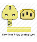 Yellow Power Cord U.K. BS 1363 Down Male to C13 Female 2.5 Meters 10 Amp 250 Volt H05VV-F 3x1.0