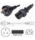 Argentina IRAM2073 Male to C15 Female 2.5 Meters 10 Amp 250 Volt H05VV-F3G1.0 Black Power Cord