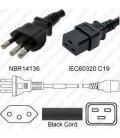 Power Cord Brazil NBR14136 Male Plug to IEC 60320-C19 Female 3 Meter ~ 10 Feet 16a/250v