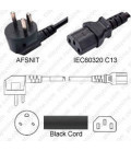 Denmark AFSNIT 107-2-D1 Up Male to C13 Female 1.8 Meters 10 Amp 250 Volt H05VV-F 3x0.75 Black Power Cord