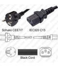 Schuko CEE 7/7 Male to C13 Female 2.0 Meters 10 Amp 250 Volt H05VV-F 3x0.75 Black Power Cord