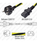 Caution Power Cord Schuko CEE 7/7 Male to C13 Female 2.0 Meters 10 Amp 250 Volt H05VV-F 3x1.0 -Caution Power Cord