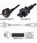 Schuko CEE 7/7 Male to C5 Female 2.0 Meters 2.5 Amp 250 Volt H05VV-F 3x0.75 Black Power Cord