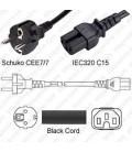 Schuko CEE 7/7 Male to C15 Female 2.5 Meters 10 Amp 250 Volt H05VV-F 3x1.0 Black Power Cord