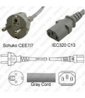 Gray Power Cord Schuko CEE 7/7 Male to C13 Female 2.5 Meters 10 Amp 250 Volt H05VV-F 3x1.0
