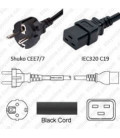 Schuko CEE 7/7 Male to C19 Female 2.5 Meters 16 Amp 250 Volt H05VV-F 3x1.5 Black Power Cord