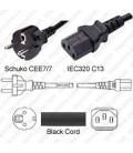 Schuko CEE 7/7 Male to C13 Female 3.0 Meters 10 Amp 250 Volt H05VV-F 3x1.0 Black Power Cord
