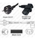 Schuko CEE 7/7 Male to C13 Left Female 2.0 Meters 10 Amp 250 Volt H05VV-F 3x1.0 Black Power Cord