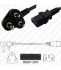 India IS 1293 (BS546) Down Male to C13 Female 1.8 Meters 6 Amp 250 Volt H05VV-F 3x0.75 Black Power Cord