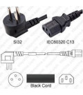 Israel SI-32 Up Male to C13 Female 1.8 Meters 10 Amp 250 Volt H05VV-F 3x0.75 Black Power Cord